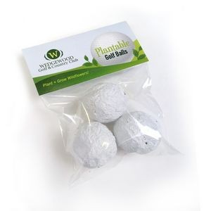 Plantable Golf Balls Day Seed Bombs Cellopack 3
